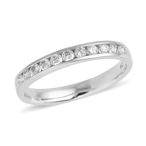 14K White Gold Diamond (Rnd) (I1-I2/G-H) Half Eternity Band Ring 0.250 Ct.