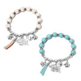 Set of 2- Blue Howlite (Rnd), White Howlite and White  Austrian Crystal  Bracelet with Elephant Charm 161.000  Ct.