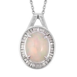 Super Auction- Ethiopian Welo Opal (Ovl 13x10 mm), Diamond Pendant With Chain (Size 18) in Rhodium Overlay Sterling Silver   3.370 Ct.