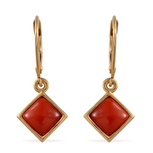 Mediterranean Coral (2.00 Ct) 14K Gold Overlay Sterling Silver Earring  2.000  Ct.