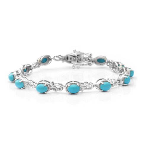 Arizona Sleeping Beauty Turquoise Bracelet (Size 7) in Rhodium Overlay Sterling Silver 5.52 Ct, Silv
