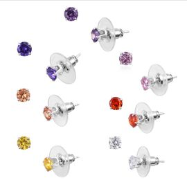 Set of 7 Elanza Multi Gemstone Stud Earrings in Silver