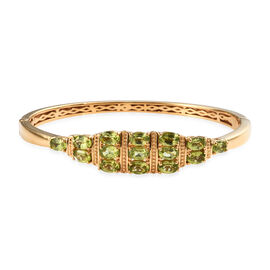 Hebei Peridot (Ovl) Bangle (Size 7.5) in Yellow Gold Plated 7.50 Ct.