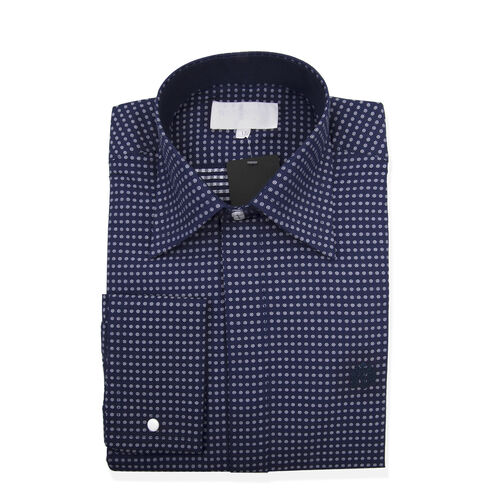 William Hunt Saville Row Forward Point Collar Dark Blue and White Polka Dot Shirt Size 18