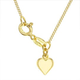 Yellow Gold Overlay Sterling Silver Heart Curb Adjustable Chain (Size 18)