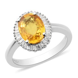 RHAPSODY 950 Platinum AAAA Loupe Clean Chanthaburi Yellow Sapphire (Ovl 9x7mm) and Diamond (VS/E-F)
