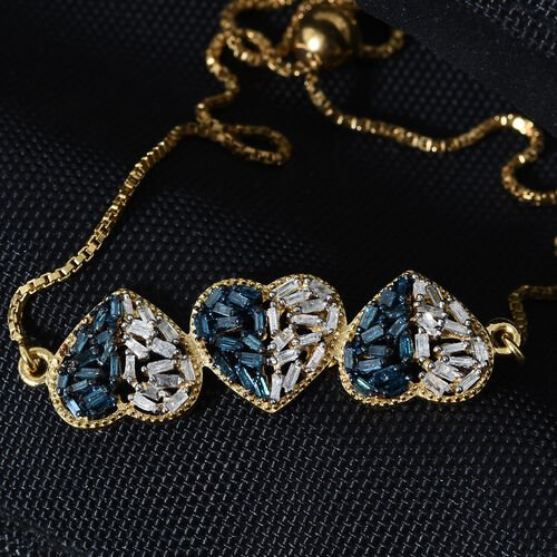 Blue and White Diamond (Bgt) Heart Bracelet (Size 6.5 - 9 Adjustable) in 14K Gold and Platinum Overlay with Blue Plating Sterling Silver 0.750 Ct.