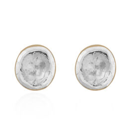 Artisan Crafted Polki Diamond Stud Earrings (with Push Back) in Yellow Gold Overlay Sterling Silver