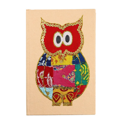 4 Piece Set - Two Owl Design Handmade Paper Diary (100 Pages) and Two Beaded Pen - Ivory, Green and Multi