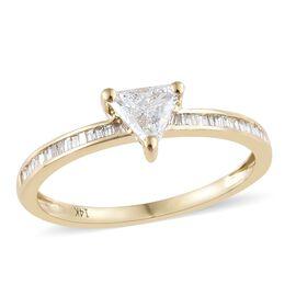 14K Y Gold Diamond (Trl) (I1-I2/ G-H) Ring 0.450 Ct.