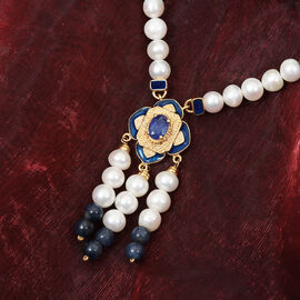 Freshwater Pearl and Masoala Sapphire Enamelled Necklace (Size 18 with 2 inch Extender) in 14K Gold Overlay Sterling Silver