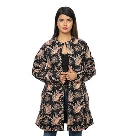 100% Rayon, Long Quilted Jacket. Color: Black Length: 86.36 cms. Width: 100.33 cms.