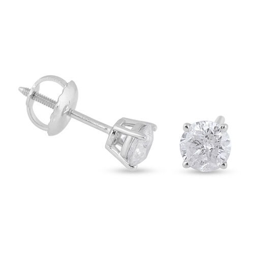 NY Close Out Deal- 14K White Gold Diamond (I1-I2/G-H) Stud Earrings (with Screw Back) 0.50 Ct.