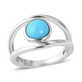 1.15 Ct Arizona Sleeping Beauty Turquoise Solitaire Ring in Rhodium Plated Silver