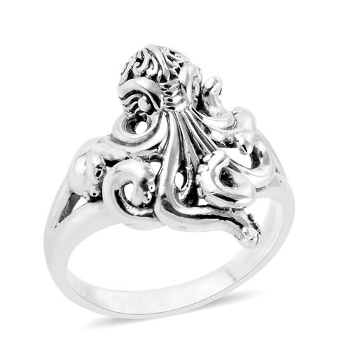 Royal Bali Collection- Sterling Silver Octopus Ring, Silver wt 6.00 Gms.