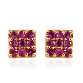 African Ruby (1.25 Ct) 14K Gold Overlay Sterling Silver Earring  1.000  Ct.