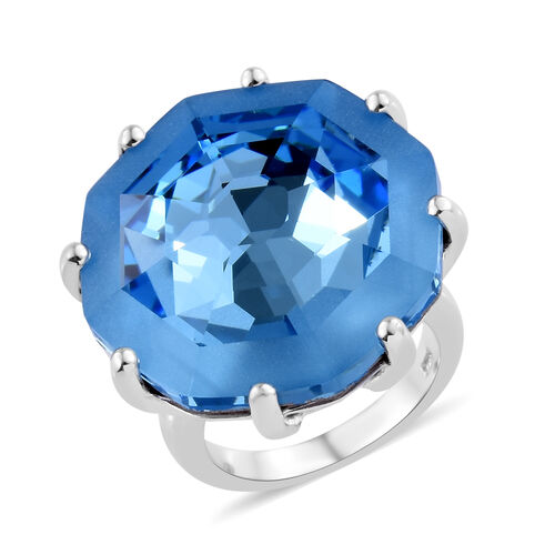J Francis - Crystal from Swarovski Aquamarine Colour Crystal (Hexagon 23 mm) Ring in Platinum Overla