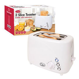 2-Slice LED Buttons Toaster with 3 Functions and 5 Browning Levels - White