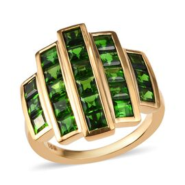 Russian Diopside (Sqr 3.0 mm) Ring in 14K Gold Overlay Sterling Silver 3.750 Ct.