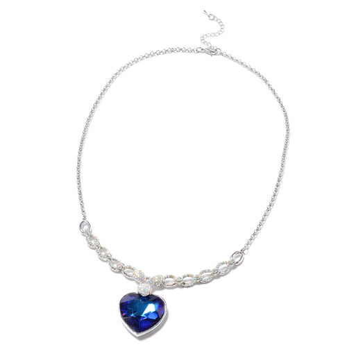 Simulated Sapphire and Simulated Mystic White Crystal Necklace (Size 20 with 2 inch Extender) with L