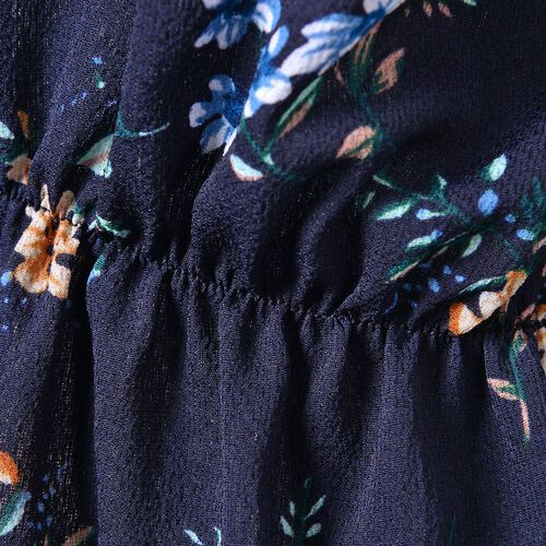 Summer Collection - Limited Available - Navy and Multi Colour Floral Pattern Peplum Top (Medium-Large Size 45X50 Cm)