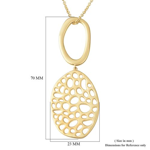 RACHEL GALLEY Yellow Gold Plated Sterling Silver Lattice Pendant with Chain (Size 30), Silver wt 20.90 Gms.