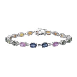 One Time Deal - Rainbow Sapphire (Oval 6x4) Bracelet (Size 8) in Rhodium Overlay Sterling Silver 11.