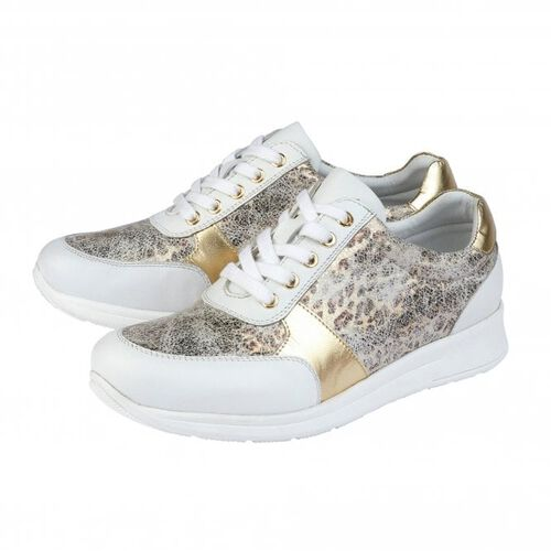 Lotus Stressless Leather Florence Lace-Up Trainers (Size 3) - White
