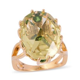 Rose Cut Lemon Quartz (Ovl 11.00 Ct), Russian Diopside Ring (Size O) in Yellow Gold Overlay Sterling Silver 1