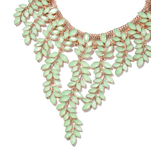 Simulated Green Jade (Mrq) Leaf Waterfall Necklace (Size 17 with 4 inch Extender) in Yellow Gold Tone