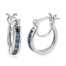 Santamaria Aquamarine Full Hoop Earring in Platinum Overlay Sterling Silver 1.00 ct  1.000  Ct.