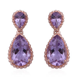 Rose De France Amethyst (Pear) Drop Earrings (with Push Back) in Rose Gold Overlay Sterling Silver 9