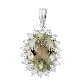 Green Amethyst (Ovl), Natural Cambodian Zircon Pendant in Platinum Overlay Sterling Silver 9.500 Ct.