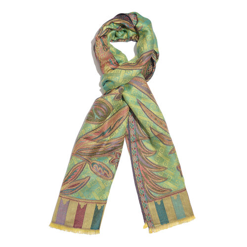 One Time Deal-Green, Orange and Multi Colour Floral and Leaves Jacquard Weave Design Pattern Scarf with Fringes (Size 190X70 Cm)