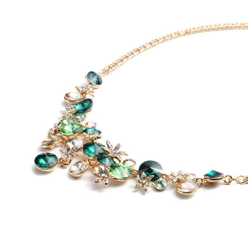 Multi Colour Simulated Gemstone and Multi Colour Austrian Crystal Necklace(Size 23.5 with Extender) in Gold Tone