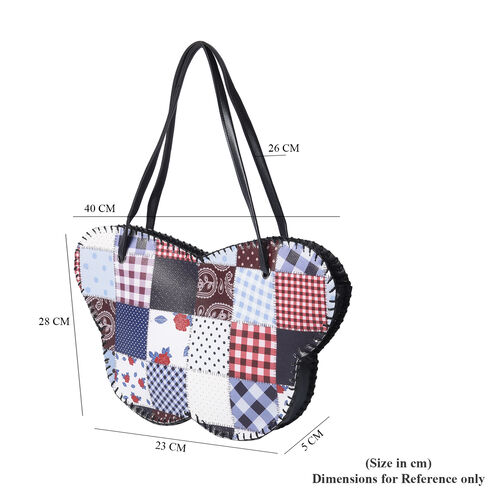 Butterfly-Shaped Water Resistant Tote Bag in Multi Colour Pattern