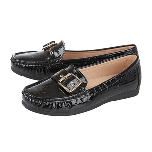 Lotus LIBBY Loafers with Croc Pattern and Buckle Detailing - Black