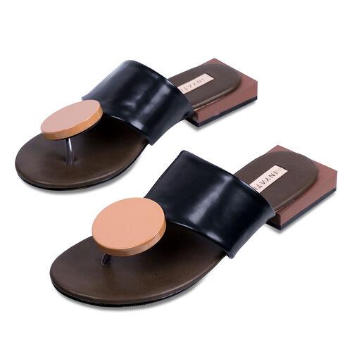 Inyati Giana Open Toe Slip On Sandals (Size 4) - Black and Tan