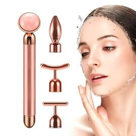 4-in-1 Rose Quartz Facial Roller - Rose Gold Plated Interchangeable Heads (Incl. Rose Quartz, T-Shap