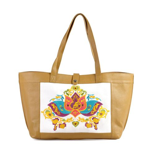 Melanney Genuine Leather Lotus Embroidered Off White and Tan Colour Tote Bag (SIze 47 X 26 CM)