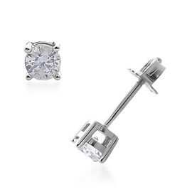 0.30 Ct Diamond Solitaire Stud Earrings with Push Back in 9K White Gold SGL Certified I3 G H