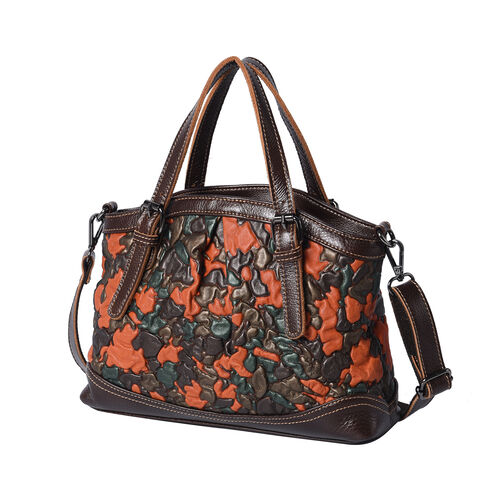 100% Genuine Leather Embossed Floral Pattern Satchel Bag (Siz3 31x9x21cm) - Multi Colour