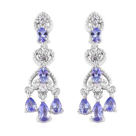 GP 1.90 Ct Tanzanite and Multi Gemstone Chandelier Earrings in Platinum Plated Silver