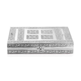 Teak Wood Hand Crafted Aluminium Sheet Mandala Print Embossed 100 - Ring Box