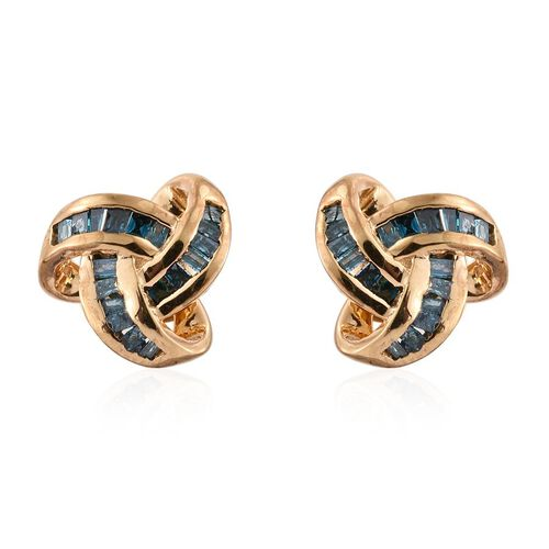 Blue Diamond (Bgt) Triple Knot Stud Earrings (with Push Back) in 14K Gold Overlay Sterling Silver 0.250 Ct.