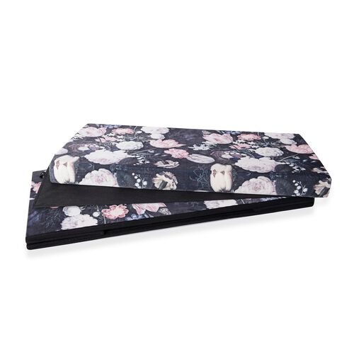 Luxury Edition - The Garden of Eden Printed Velvet Foldable Storage Ottoman (Size  76x38x38 Cm)