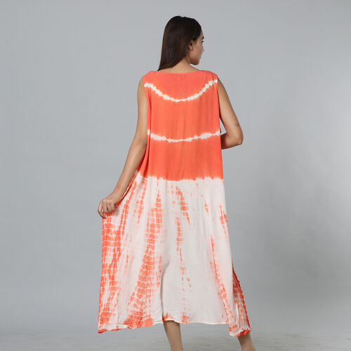 Tie & Dye Umbrella Dress in Coral and White (Size upto 18)   Length - 120cm/47in
