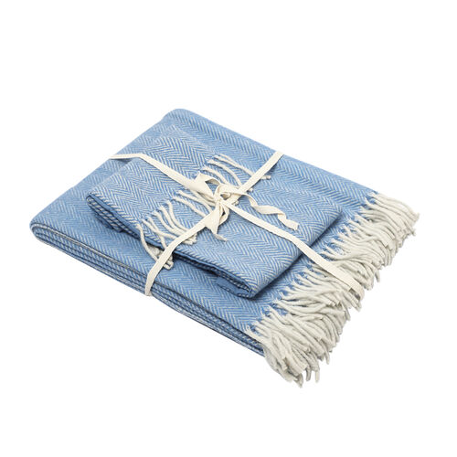 New Arrival- 2 Piece Set - Herringbone Pattern Wool Throw Blanket with Fringe (Size 135x170cm) and C