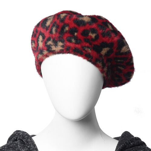 Super Soft Chic Leopard Beret - Red