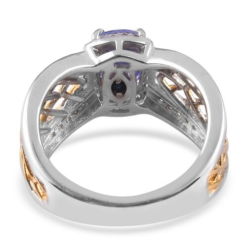 GP - Tanzanite, Natural Cambodian Zircon and Blue Sapphire Criss Cross Ring in Platinum and Yellow Gold Overlay Sterling Silver 1.32 Ct.